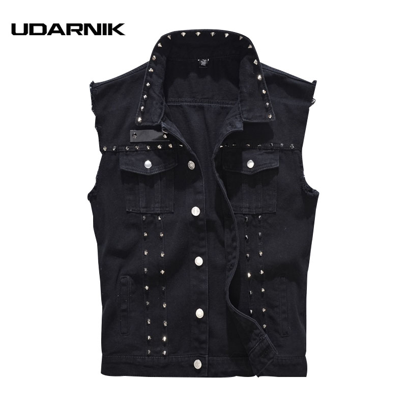 Mens Noir Denim Gilet Rivet Turn-down Frais Waistciat Sans Manches Manteau Plus Taille M-5XL Single-breasted Veste punk 225-359