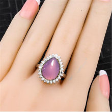 Women's S925 sterling silver ring drop-shaped chalcedony 10*14 MM Luxury Design Girl Engagement Ring AS5(China)