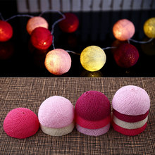 Xmas Cotton 10 Ball Fairy LED 1.8M String Light Party Outdoor Indoor Decor White+Pink+Dark Gifts*Holiday Lighting