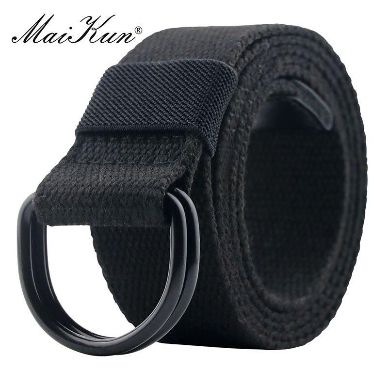 Maikun taktyczne płótno mężczyźni pas wysokiej jakości Unisex podwójny pierścień klamra pas dorywczo płótnie kobiet pas tkaniny na dżinsy