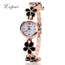 Lvpai Brand Watches Women Daisies Flower Gold Rhinestone Bracelet Wrist Watch Girl Lady Women Dress Fashion Classic Gift Watch