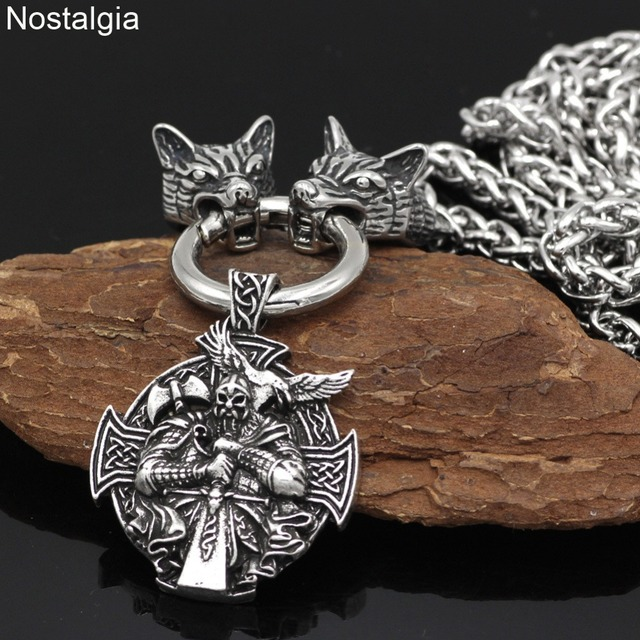 Nostalgia Viking Odin Raven Helena Rosova Nordic Wicca Pagan Talisman Amulet Wolf Head Stainless Steel Chain Necklace