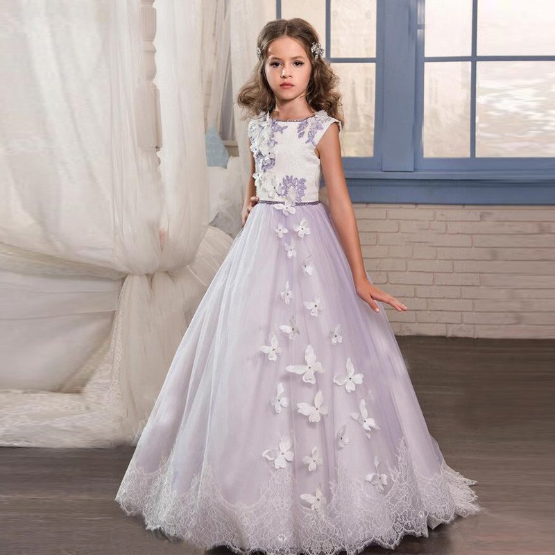 2017 New Flower Girl Dresses Vintage Purple Lace Satin Ball Gown O-Neck Bow Belt Beautiful Formal First Communion Gowns Vestidos2017 New Flower Girl Dresses Vintage Purple Lace Satin Ball Gown O-Neck Bow Belt Beautiful Formal First Communion Gowns Vestidos