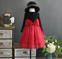 New Baby Girls Boutique Knitting Big Bow Dresses Princess Kids Autumn Cute Dress Wholesale