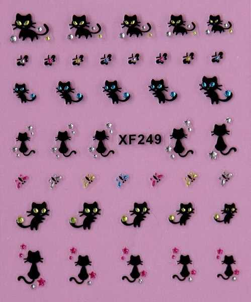 Cute beauty women  black cat  3D nail stickers Water Transfer nail art  low price XF249