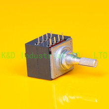 1pc ALPS 27 type 100K A Knurl shaft AMP volume potentiometer Tube Amp DIY Socket 2015 new hifi store taiwan copper shaft 24 steps 2 channel blue dale l type potentiometer l1511 19