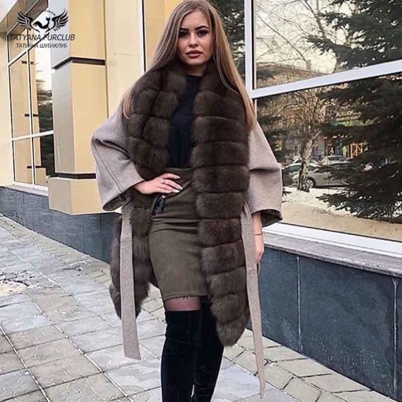 Tatyana Furclub Women Woolen Coat Winter Fur Jacket With Fox Fur Collar Bondage Waist Slim Outwear Fur Parka Coat High Street