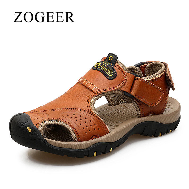 Sandals Men, Large Size 38-46 Genuine Leather Mens Beach Sandals, Summer Breathable Fashion Casual Shoes For Man, ZOGEER Brand