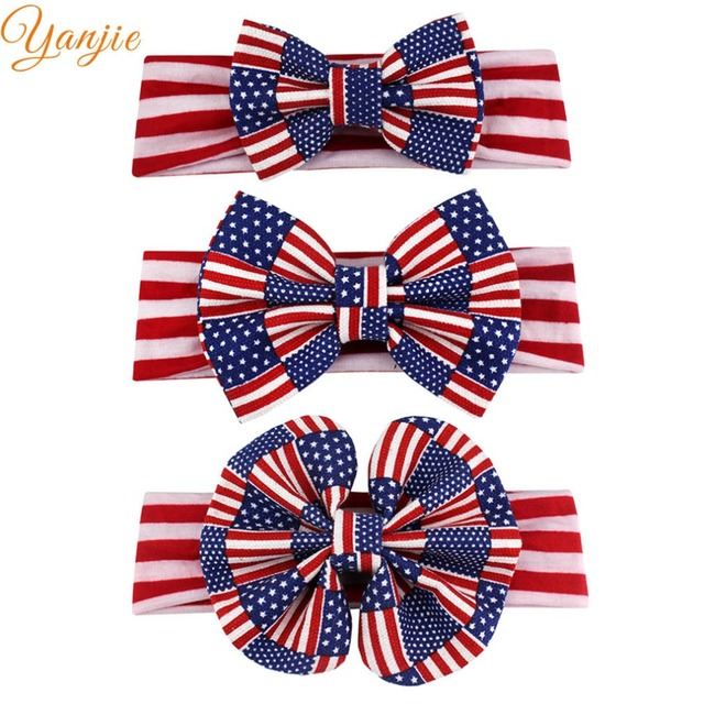 4th Of July Headband For Girls American Flag Striped Hair Band Kids  Patriotic Bow Headbands Independence b3a4cfd5880a