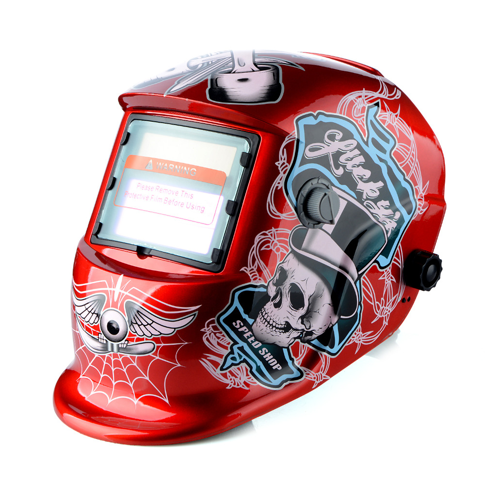 New Red Skull Solar Auto Darkening MIG MMA Electric Welding Mask/Helmet/welder Cap/Welding Lens for Welding Machine T0.2 red standard design solar welding helmet auto darkening electric grinding welding face mask welder cap lens cobwebs and skull