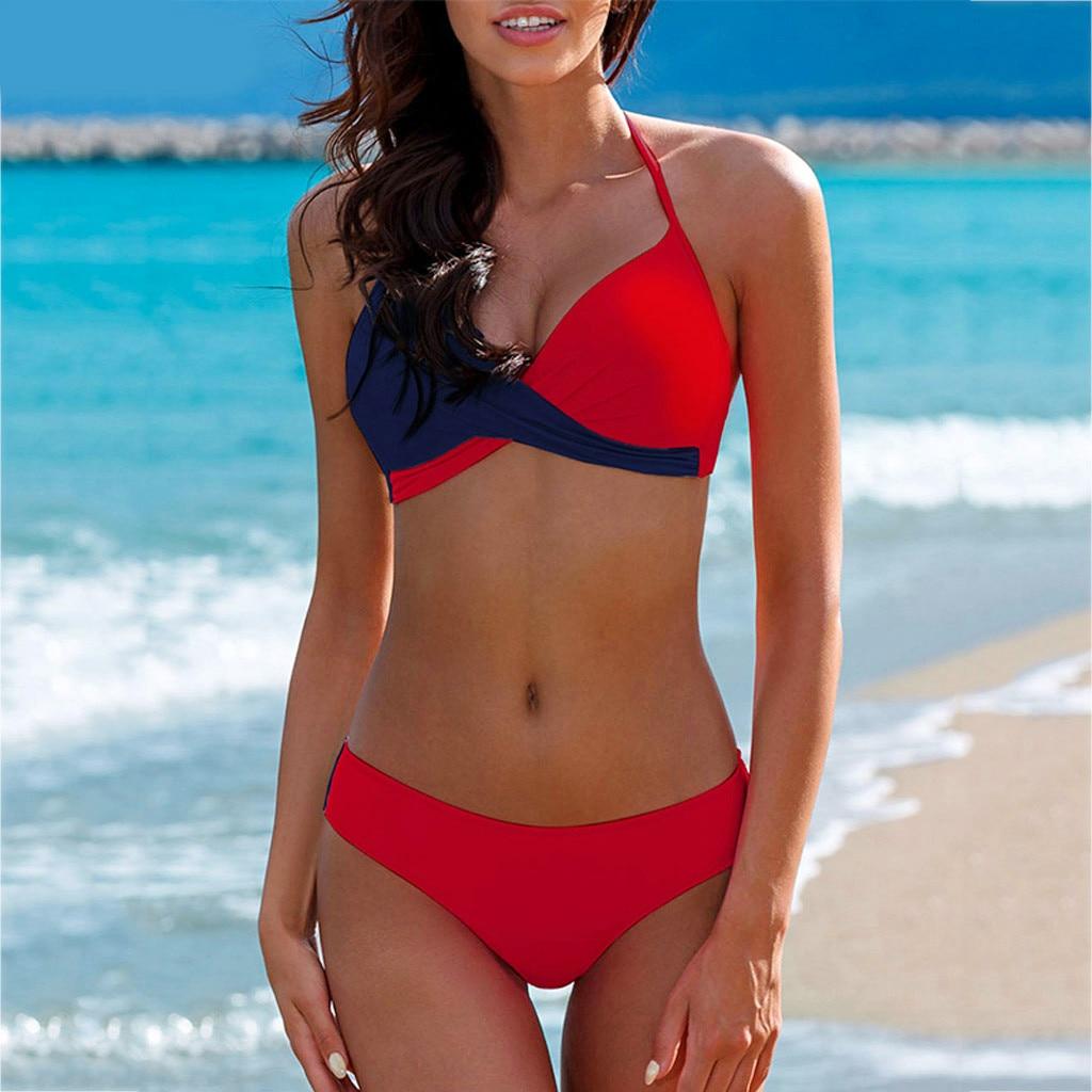 Sexy Bikinis Women Swimsuit High Waisted Bathing Suits Swim Halter Push Up Bikini Set Pachwork Plus Size Swimwear Beachwear #815 1