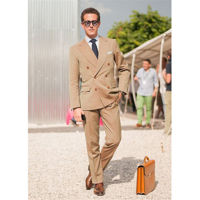 New Brown Double Breasted Classic Mens Suit Skinny Summer khaki ...