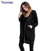 Plus Size Thick Autumn Maternity Cardigan Hoodies For Pregnant Women Cartoon Hooded Long Zipper Pregnancy Sweatshirts