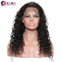 CARA 250 Density Lace Front Human Hair Wigs Deep Wave Brazilian Remy Hair Pre Plucked Natural