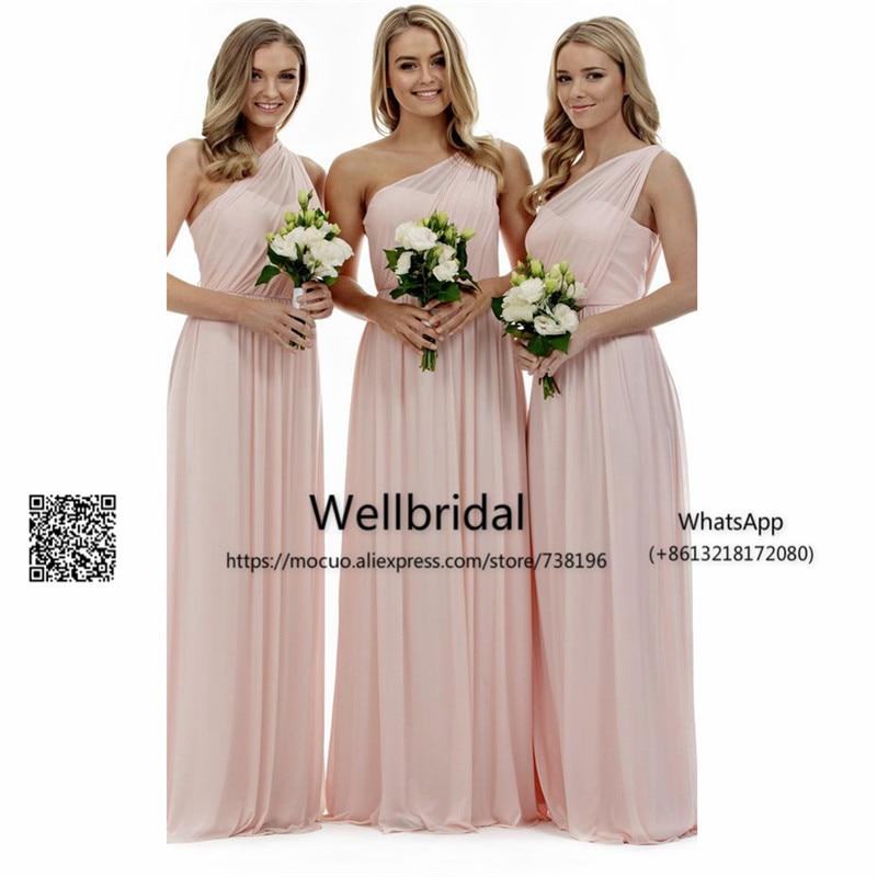 Blush Pink 2017 One Shoulder   Bridesmaid     Dresses   Long Pleat Chiffon wedding Guest Party   dress   Formal   Bridesmaid     Dress