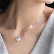 Hot 925 Sterling Silver Round Circle Necklace Rhinestones Cube Necklaces & Pendants Jewelry Collier Colar de Plata D60