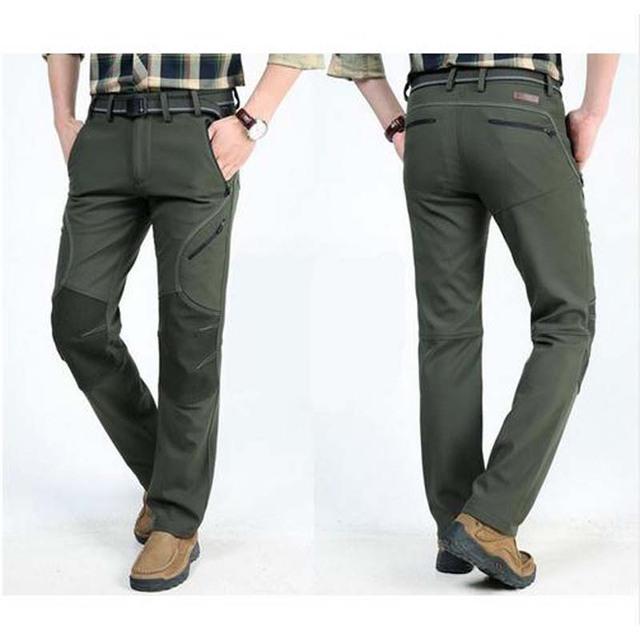 Otoño Invierno Nuevos Pantalones Impermeables Pantalones de HOMBRE con felpa Espesar Tamaño Grande Hombres pantalones de Combate ocasional Pantalones Largos y Cálidos