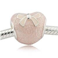 Розовым бантом и Кружево сердце розового цвета эмаль Бусины Fit серебряный браслет и Цепочки и ожерелья 925 стерлингового-серебро-ювелирные и...