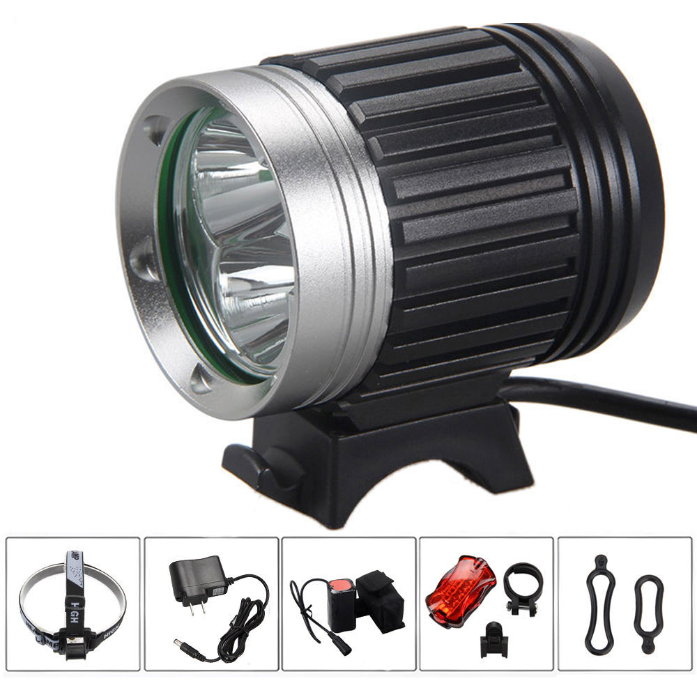 Road MTB Bike Waterproof Bicycle Light HeadLight 3 Cree Mode Front Light LED HeadLamp With 8.4v 6000mAh Battery Pack & Charger waterproof 2000 lumen led cree xml2 u2 led cycling bicycle bike usb 18650 light lamp headlight headlamp headlight strips charger