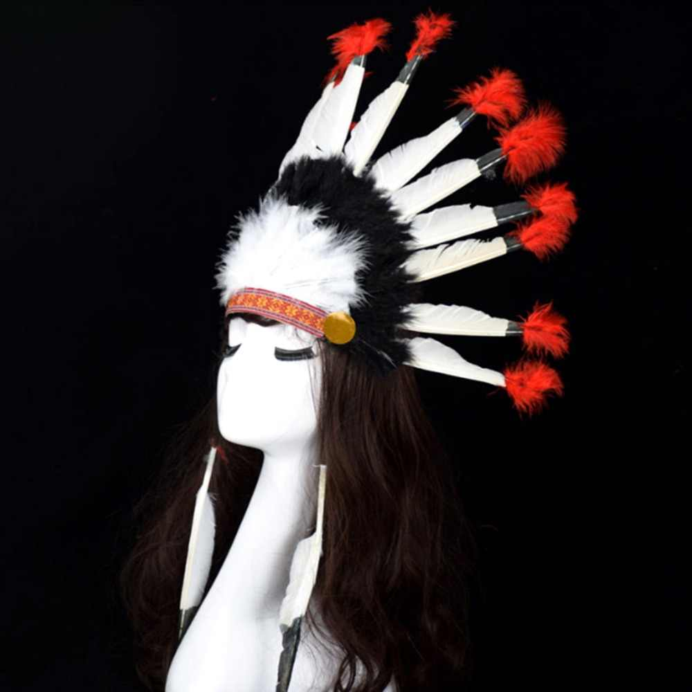 Chief  Indian Feather Headdress Headband Samba Carnival Costume Indian Feather Costumes War Bonnet Hat Indian Headdress Choose