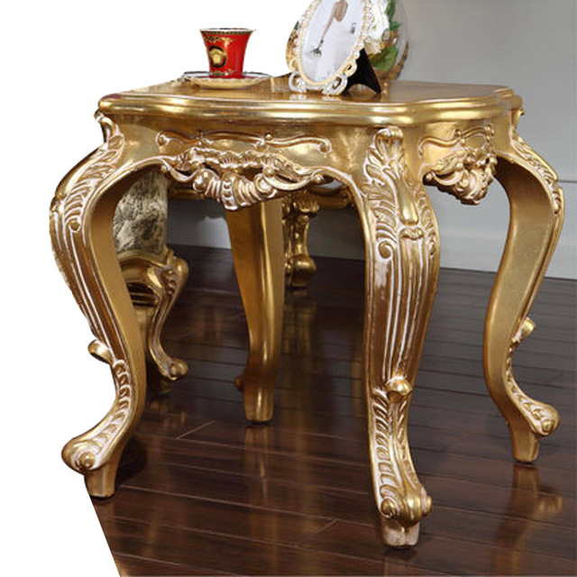 Baroque Luxury Furniture European Style Hand Carved Coffee Table Solid Wood  Small Table