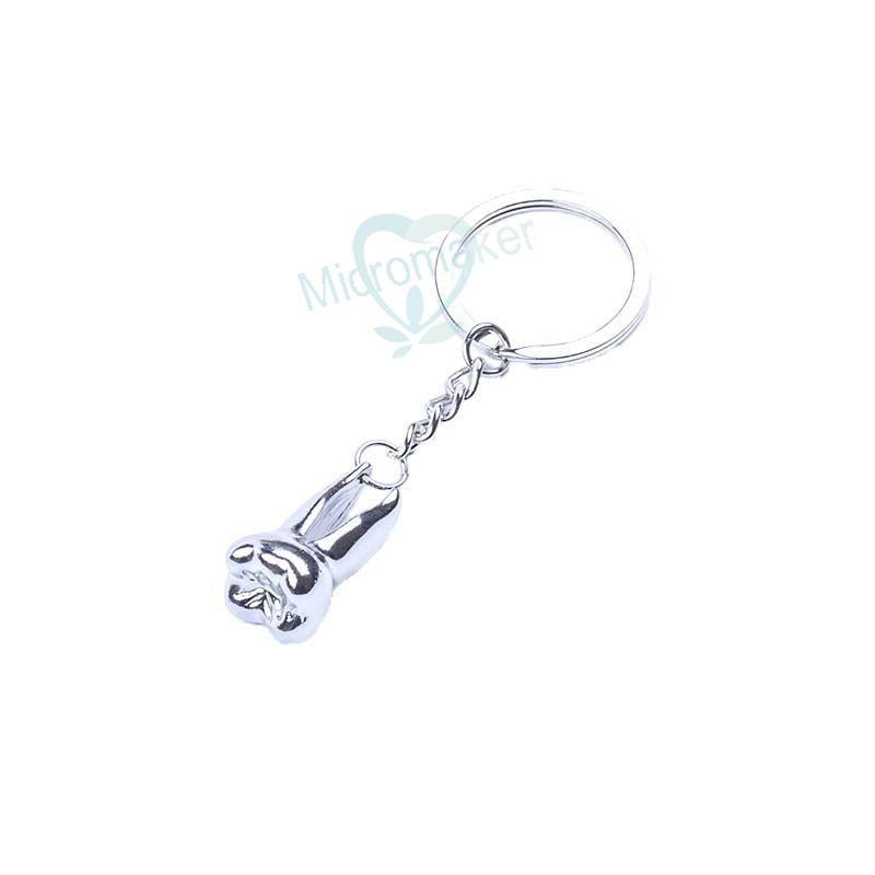 Silver Teeth Keychain Dentist Decoration Key Chains Stainless Steel Tooth Model Shape Dental Clinic Small Gift