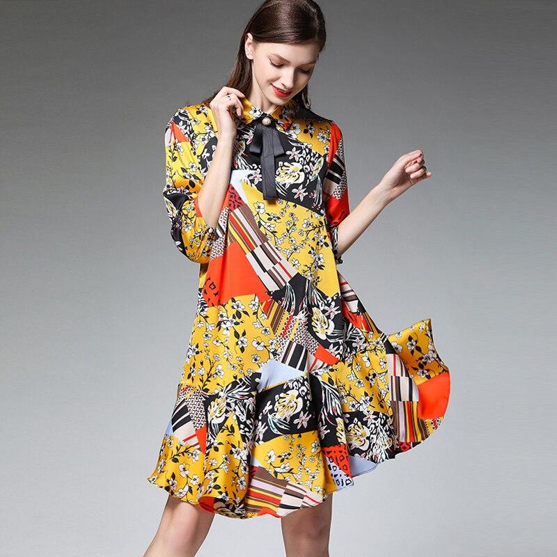 Robe 4xl Printemps Grande Décontracté Dame Femme En Yellow Mousseline Manches Robes Surdimensionné 2019 Été Volants Taille À Imprimer De Parti Lâche Moitié Fleur Soie ABpO6Hwq