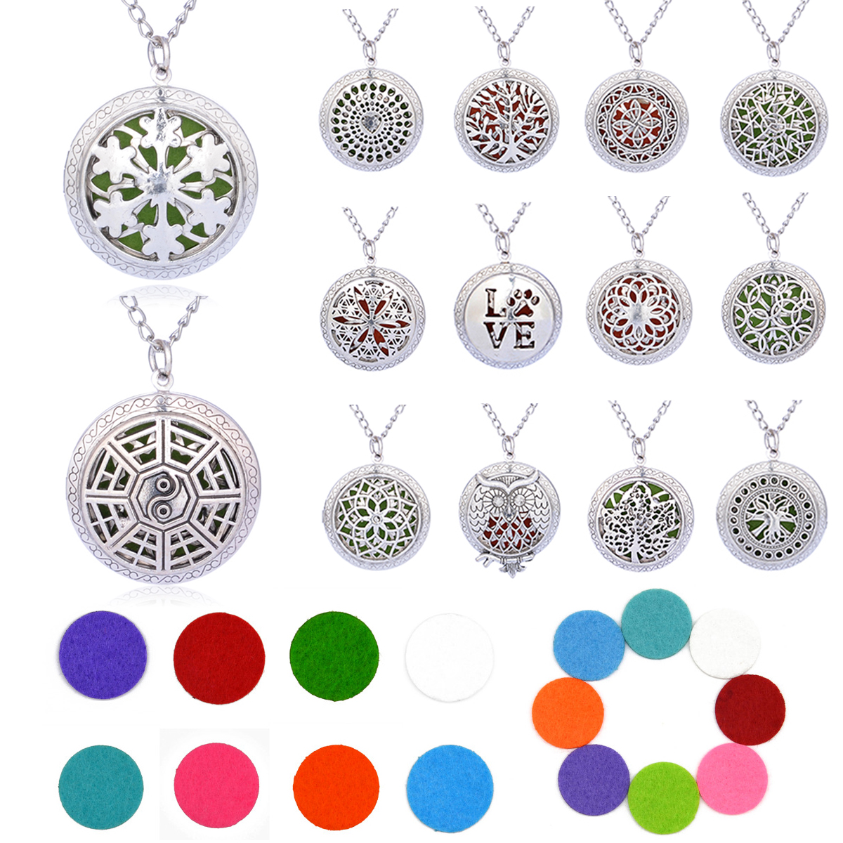 Summer Aroma Diffuser Necklace Open Vintage Silver Lockets Pendant Perfume Essential Oil Aromatherapy Locket Necklace With