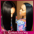 Silky Straight Wig Natural Hairline For Black Women Cheap Synthetic Wig Synthetic Lace Front Wig 150% High Density Middle Part