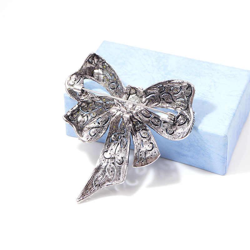 Cindy Xiang Zwarte Kleur Strass Boog Broches Voor Vrouwen Grote Strik Broche Pin Vintage Mode-sieraden Winter Accessoires