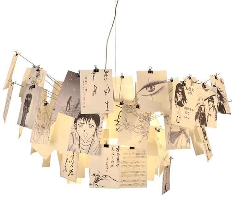 Suspension Pendente Lampe Suspension Moderne en attente de papier Suspension luminaire Note Lampe Luminaires lumières Lustre Lampe à main - 3