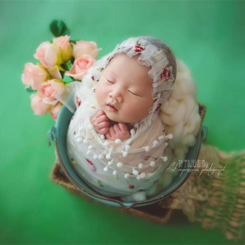 Newborn knitted wrap bonnet full set Baby Gril Lace bonnet and wrap Fabric Photography props Handmade Baby Soft Bonnet Swaddle фото