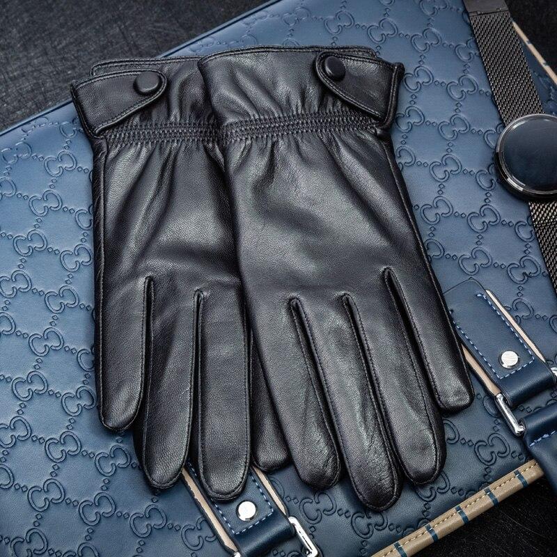 Gants en cuir Hommes chaud en automne et d'hiver et d'équitation en cuir mince court écran tactile gants noirs