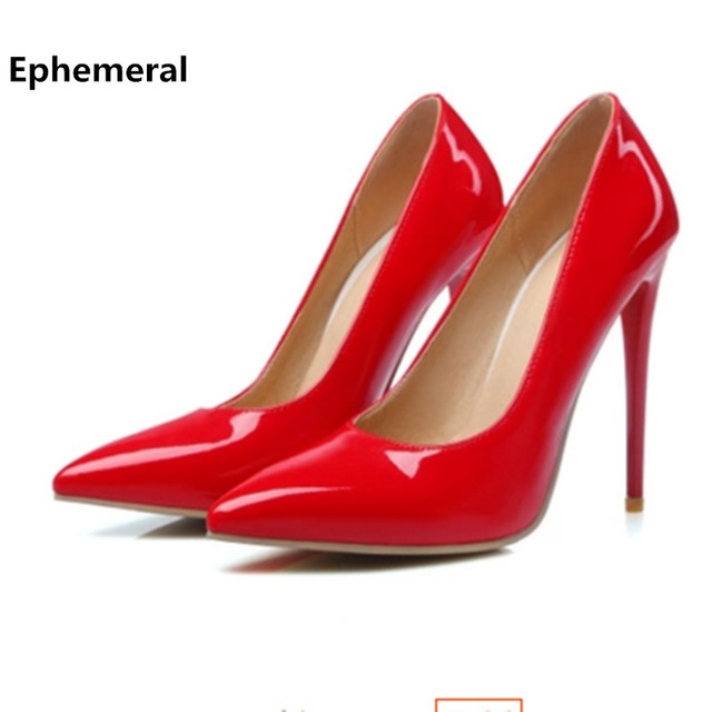 Super high heels shoes black and white women pumps sexy point toe slip on red wedding shoes max sizes 12 13 16 american style