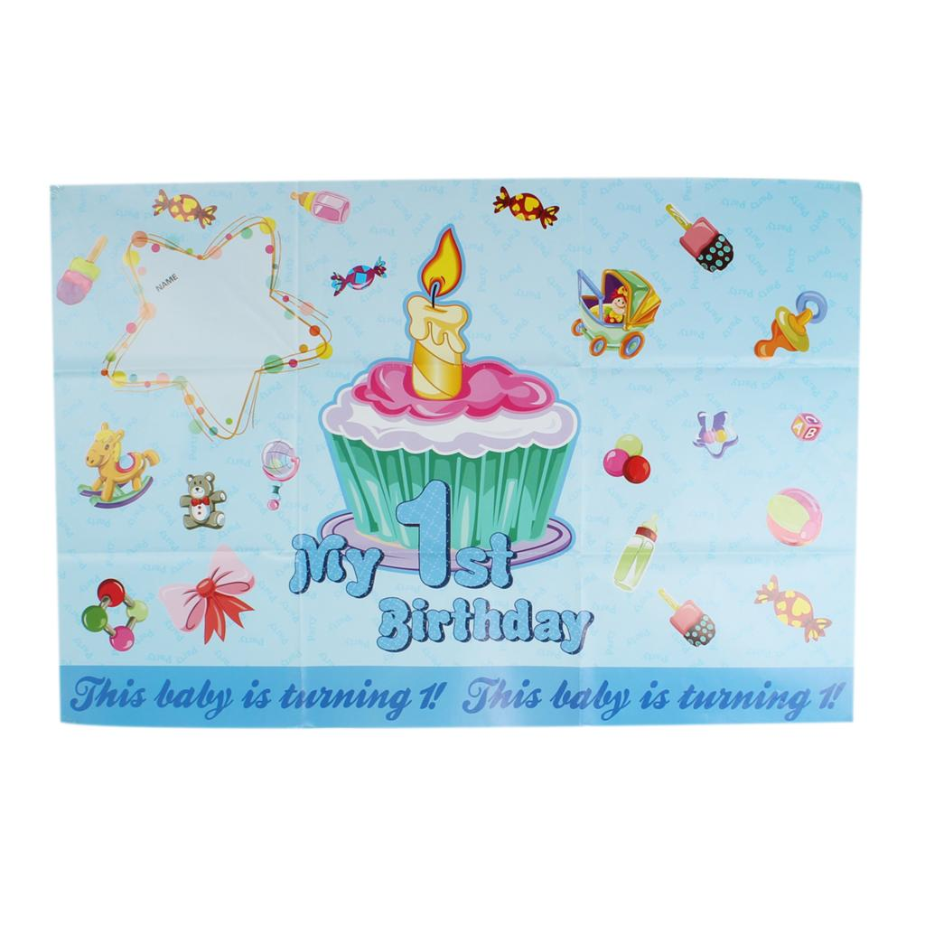 Paper Birthday Poster Party Decoration Birthday Rectangle Blue Cake