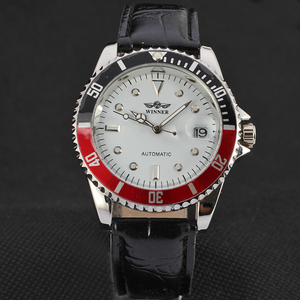 Image 4 - זוכה ייחודי Twotone עיצוב לוח קלאסי תאריך אוטומטי מכאני עצמי רוח שעון אופנה מזדמן עור שעון יד