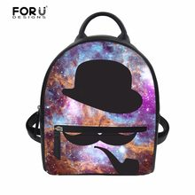 FORUDESIGNS Mustache Galaxy Brand Designer Women's Backpack Mini School Girls Bagpack Bookbags for Woman Daily Pu Daypack Bags(China)