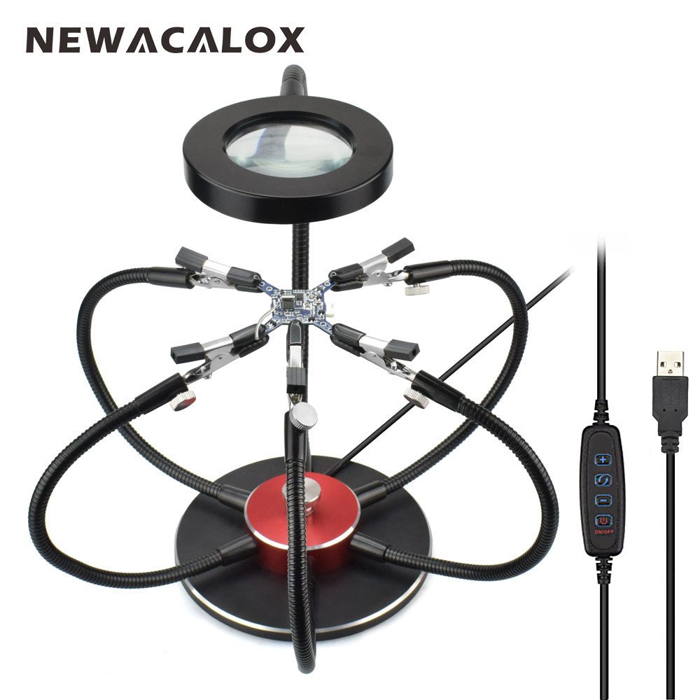 NEWACALOX Multi Soldering Helping Hands USB LED Light Magnifying Glass 6pcs Flexible Arms Soldering Station Repair Welding Tool new multi soldering helping tool third hand with led light flexible arms for pcb board soldering assembly repair station