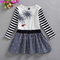 Malayu Baby Europe 2016 new summer girls flower print dress bright diamond stitching striped decals,  girl's long-sleeved dress