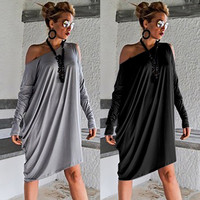 dress gothic women clothes 2019 casual dresses vintage streetwear loose o-neck white sexy clothes christmas party casual