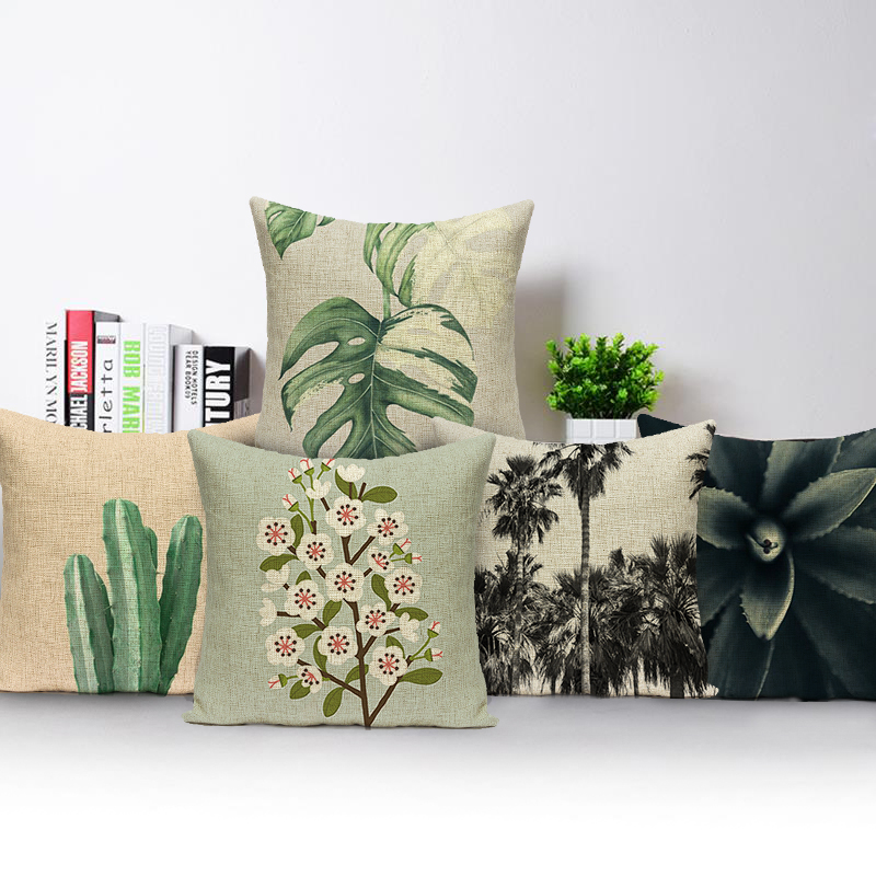 Plant Decoration Home Green Flowers Linen Linen Pillow Suite Room Printing Chair Seat 17x17 Inch Throw Pillow Cushion Cover