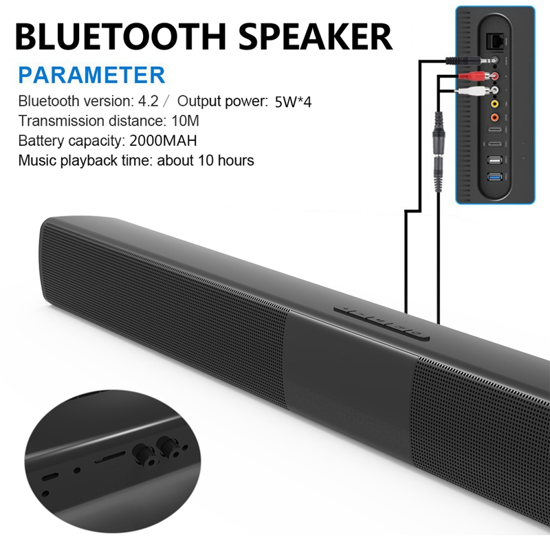 Big Power 20w Home Theater Tv Bluetooth Speaker Soundbar Stereo Super Bass Portable Wireless Computer Subwoofer Mic Fm Radio Exquisite Traditional Embroidery Art