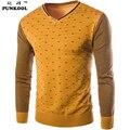 PUNKOOL Tirón Hombres 2016 Alto Qualiy Delgado Hombres Suéter de Cachemira Patchwork Impreso Suéter de Punto Suéteres de Los Hombres Ocasionales Homme Tirón