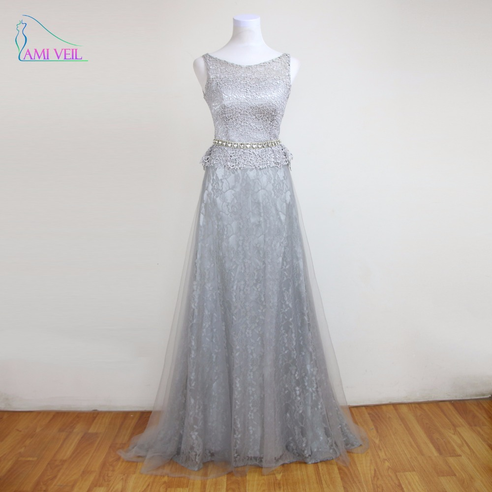 Long silver dress rhinestone evening gowns lace women prom for Evening dresses for weddings