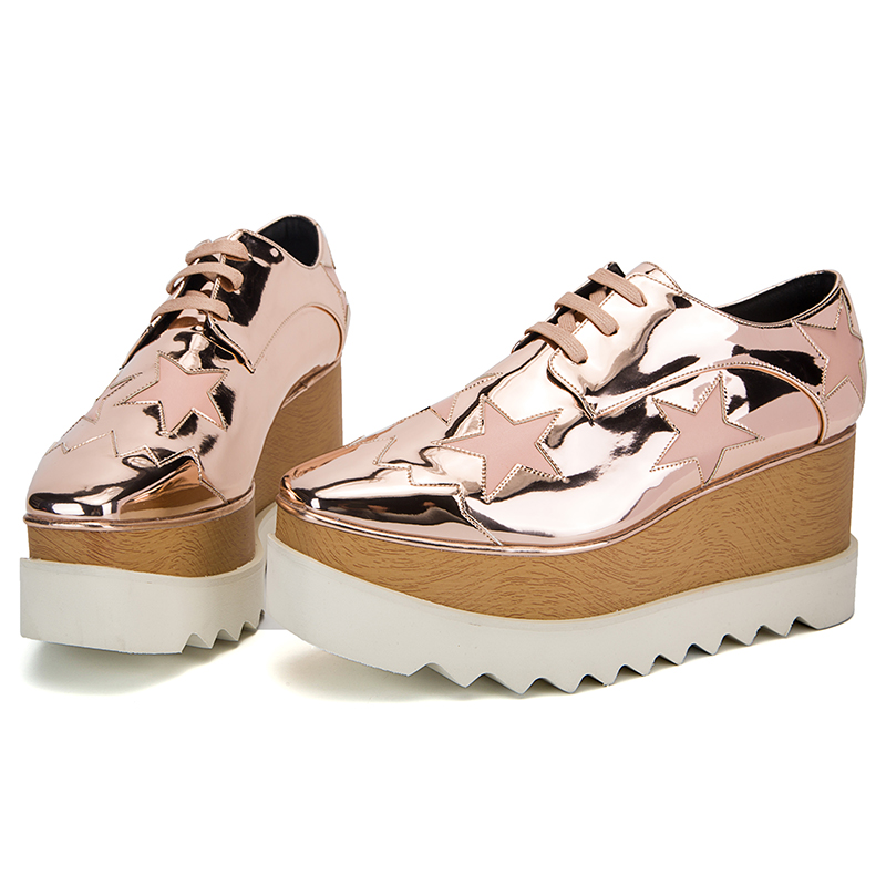 Square Toe Bling Star Women Pumps High Wedge Heel Platform Lace Up Casual Patent Leather Derby Shoes Women Mix Color Thick Sole xjrhxjr women s lace up high heels women pumps british style leather shoes thick heel round toe platform casual shoes for girls