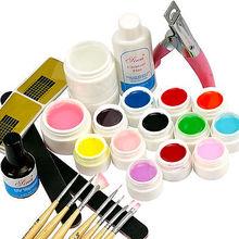 BTT-139 Nail Art UV Gel Tools + 12Pcs Fluorescent Colors UV Gel Full Kit Nail Art Tool at free shipping