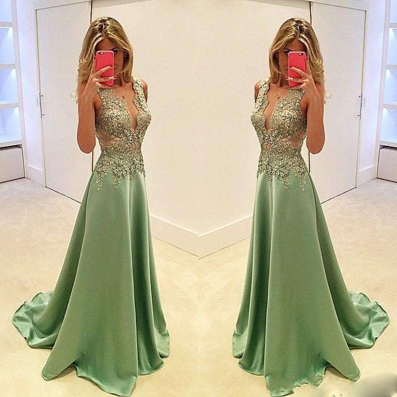 f0ecaa8e88 Long Prom Dresses 2016 Olive Green V Neck Tank Sleeveless A Line Court  Train Floor Length Sexy Prom Gown Party Dress-in Prom Dresses from Weddings    Events ...