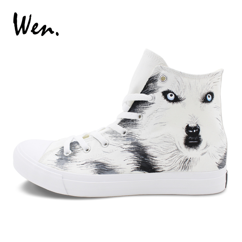 Wen Original Design Animal Wolf Canvas White Hand Painted Shoes Men Women Sneakers Athletic Sport High Top Flat converse chuck sneakers original design mask eagle totem hawk canvas shoes men women s high top athletic skate shoes