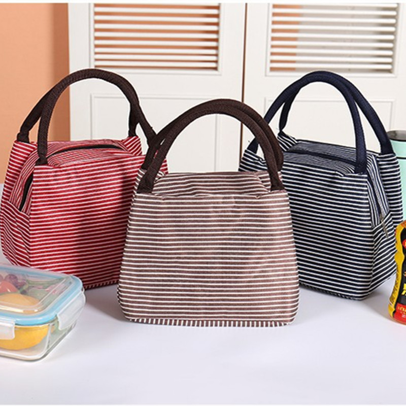 2019 Leisure Women Portable Lunch Bag Canvas Stripe Insulated Cooler Bags Thermal Food Picnic Lunch Bags Box Kids Ice Pack Tote