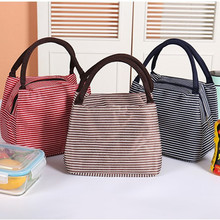 2019 Leisure Women Portable Lunch Bag Canvas Stripe Insulated Cooler Bags Thermal Food Picnic Lunch Bags Box Kids Ice Pack Tote все цены